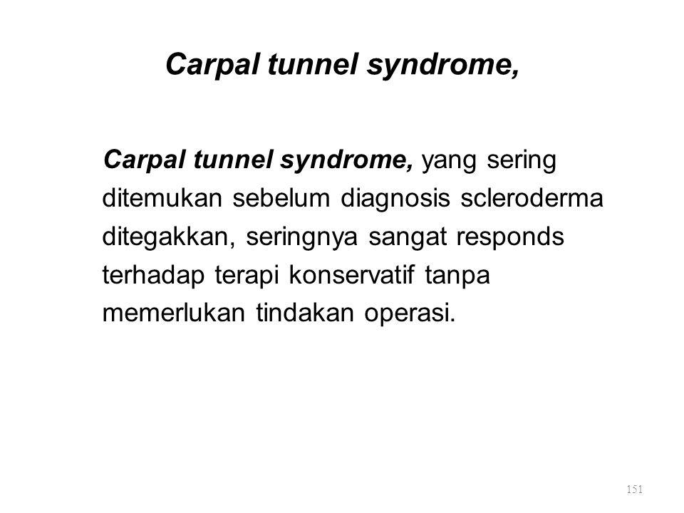 Carpal tunnel syndrome, Carpal tunnel syndrome, yang sering ditemukan sebelum diagnosis scleroderma ditegakkan, seringnya sangat responds terhadap ter