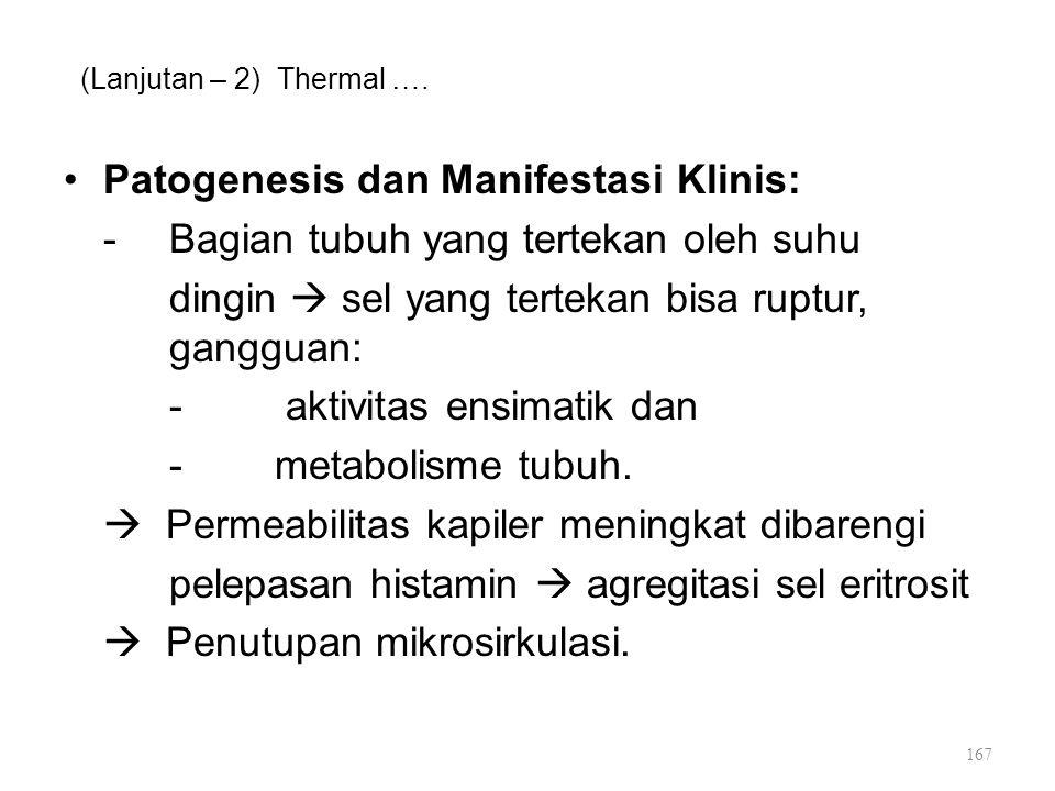 (Lanjutan – 2) Thermal …. Patogenesis dan Manifestasi Klinis: -Bagian tubuh yang tertekan oleh suhu dingin  sel yang tertekan bisa ruptur, gangguan:
