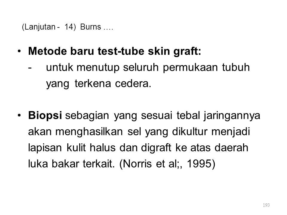 (Lanjutan - 14) Burns …. Metode baru test-tube skin graft: -untuk menutup seluruh permukaan tubuh yang terkena cedera. Biopsi sebagian yang sesuai teb