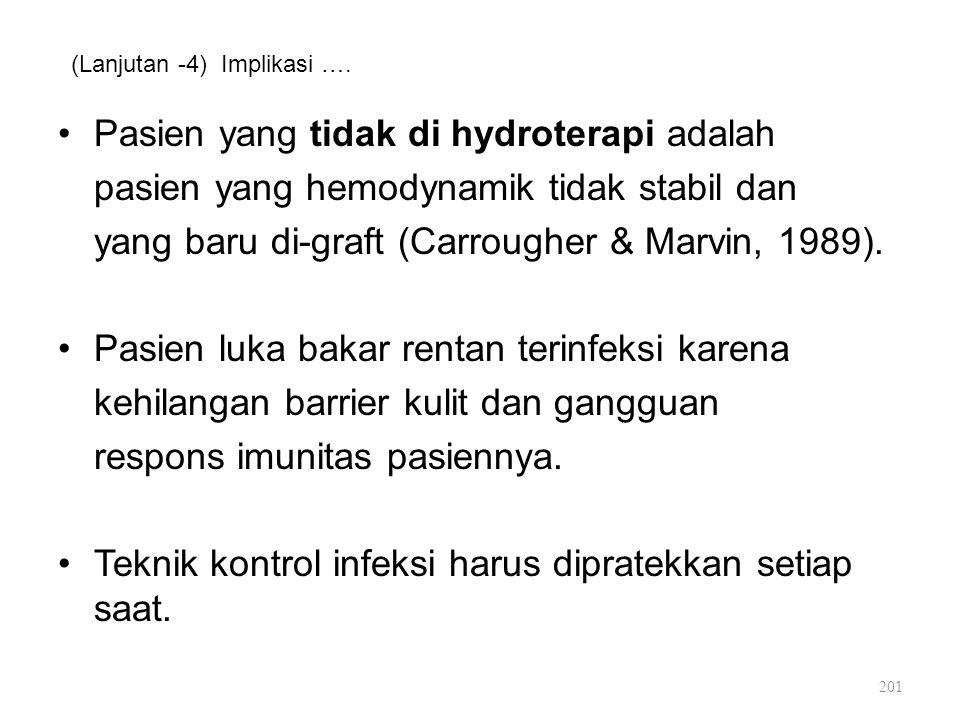 (Lanjutan -4) Implikasi …. Pasien yang tidak di hydroterapi adalah pasien yang hemodynamik tidak stabil dan yang baru di-graft (Carrougher & Marvin, 1
