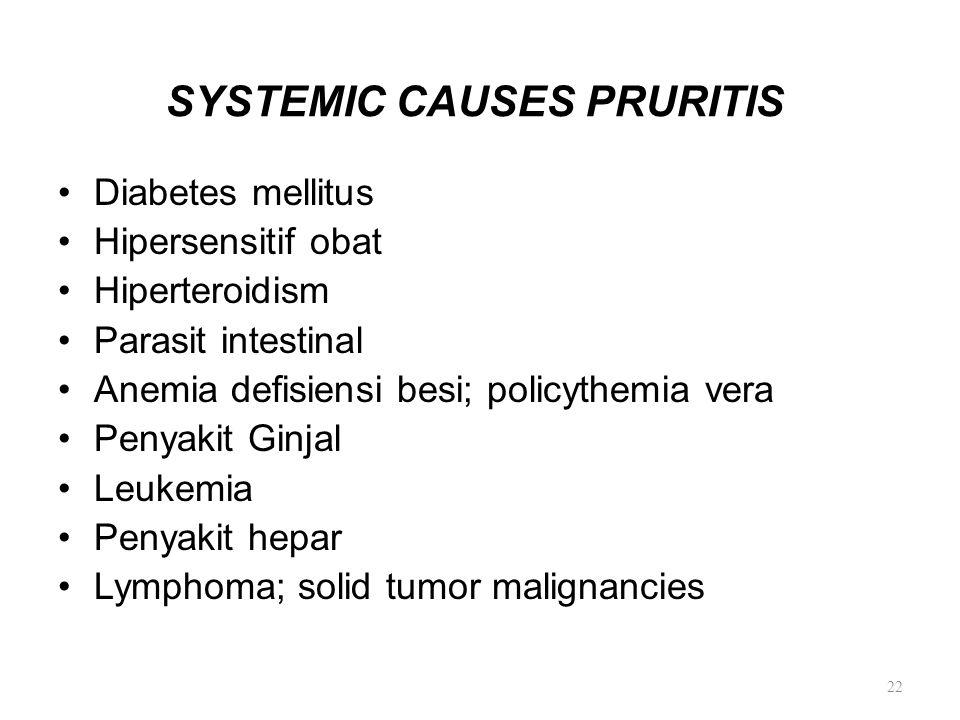 SYSTEMIC CAUSES PRURITIS Diabetes mellitus Hipersensitif obat Hiperteroidism Parasit intestinal Anemia defisiensi besi; policythemia vera Penyakit Gin
