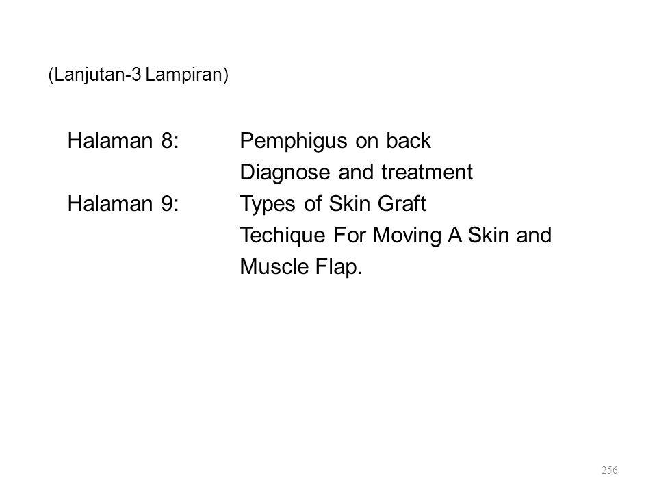 (Lanjutan-3 Lampiran) Halaman 8:Pemphigus on back Diagnose and treatment Halaman 9:Types of Skin Graft Techique For Moving A Skin and Muscle Flap. 256