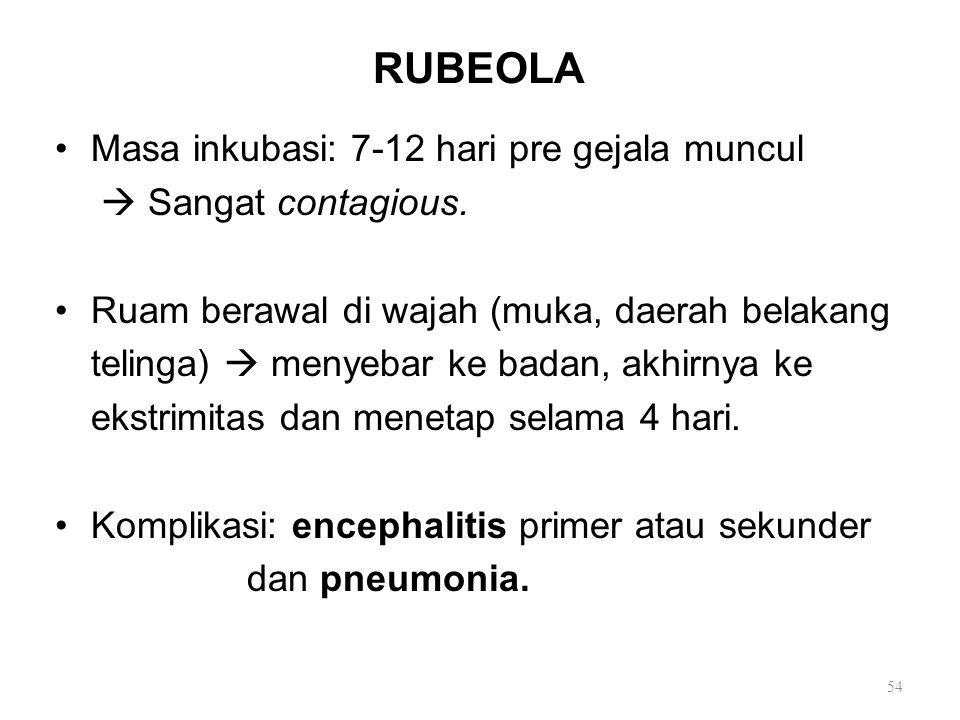 RUBEOLA Masa inkubasi: 7-12 hari pre gejala muncul  Sangat contagious. Ruam berawal di wajah (muka, daerah belakang telinga)  menyebar ke badan, akh