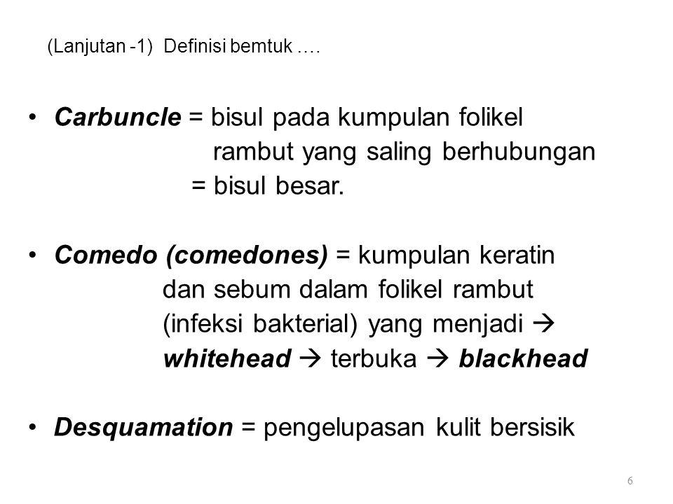 (Lanjutan -1) Definisi bemtuk …. Carbuncle = bisul pada kumpulan folikel rambut yang saling berhubungan = bisul besar. Comedo (comedones) = kumpulan k