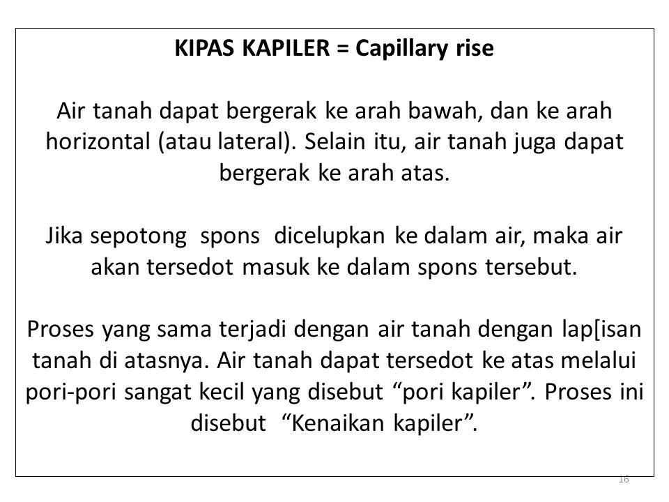 16 KIPAS KAPILER = Capillary rise Air tanah dapat bergerak ke arah bawah, dan ke arah horizontal (atau lateral). Selain itu, air tanah juga dapat berg