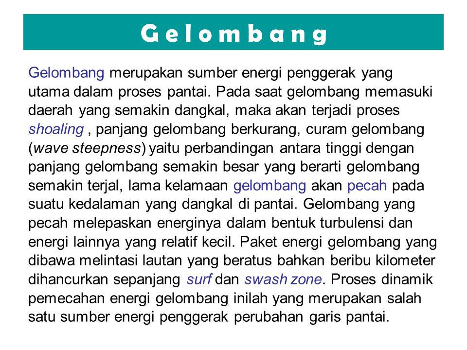 G e l o m b a n g Gelombang merupakan sumber energi penggerak yang utama dalam proses pantai. Pada saat gelombang memasuki daerah yang semakin dangkal