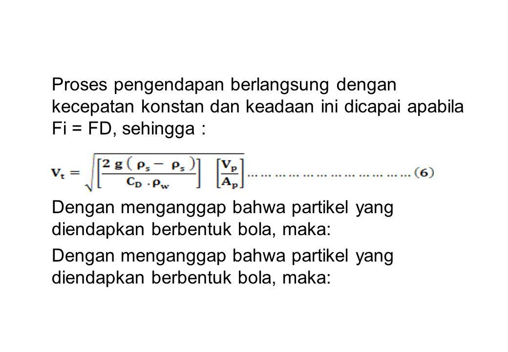 Proses pengendapan berlangsung dengan kecepatan konstan dan keadaan ini dicapai apabila Fi = FD, sehingga : Dengan menganggap bahwa partikel yang dien