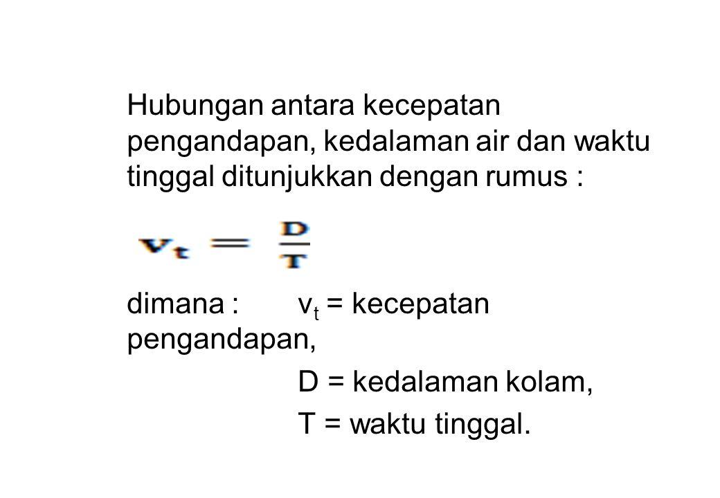 Hubungan antara kecepatan pengandapan, kedalaman air dan waktu tinggal ditunjukkan dengan rumus : dimana :v t = kecepatan pengandapan, D = kedalaman k