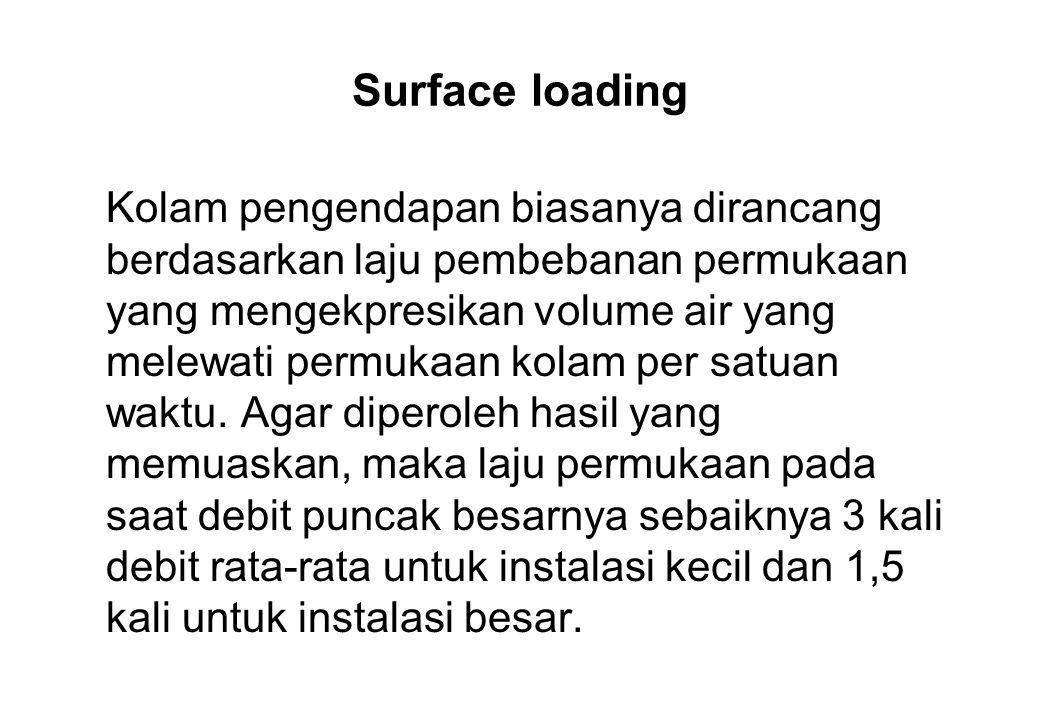Surface loading Kolam pengendapan biasanya dirancang berdasarkan laju pembebanan permukaan yang mengekpresikan volume air yang melewati permukaan kola