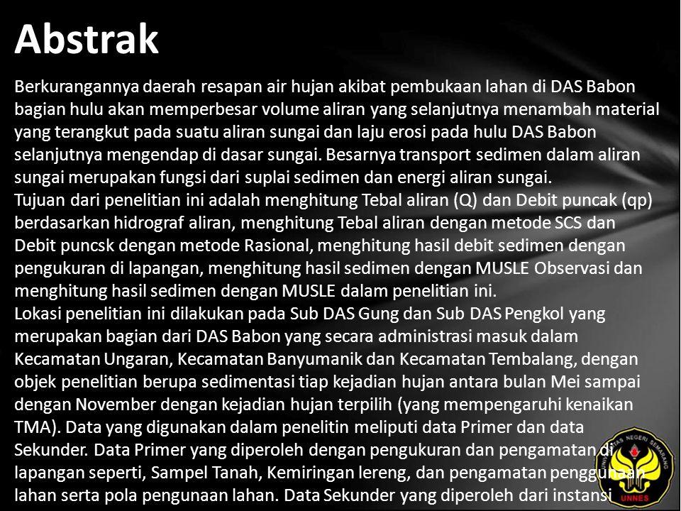 Kata Kunci Model MUSLE, Hidrograf Aliran, Debit Puncak, Volume Total Aliran, Sedimentasi.