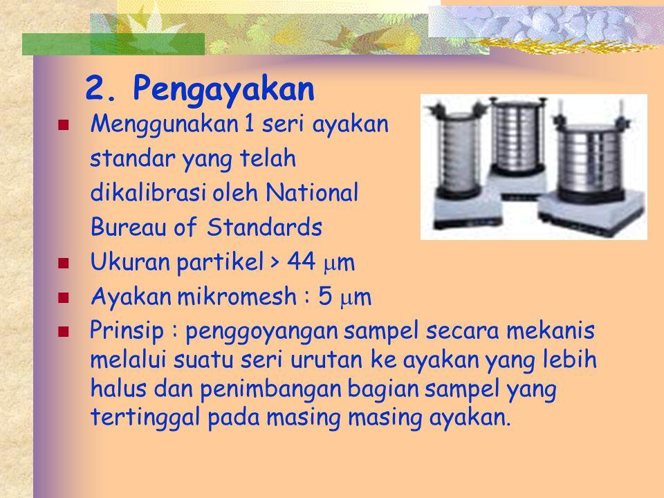 2. Pengayakan Menggunakan 1 seri ayakan standar yang telah dikalibrasi oleh National Bureau of Standards Ukuran partikel > 44  m Ayakan mikromesh : 5