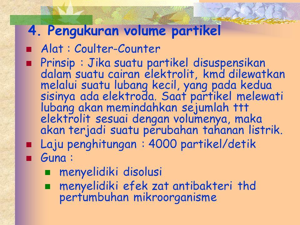 4. Pengukuran volume partikel Alat : Coulter-Counter Prinsip : Jika suatu partikel disuspensikan dalam suatu cairan elektrolit, kmd dilewatkan melalui