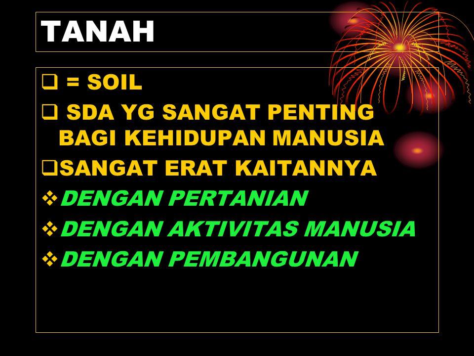 TANAH  = SOIL  SDA YG SANGAT PENTING BAGI KEHIDUPAN MANUSIA  SANGAT ERAT KAITANNYA  DENGAN PERTANIAN  DENGAN AKTIVITAS MANUSIA  DENGAN PEMBANGUNAN