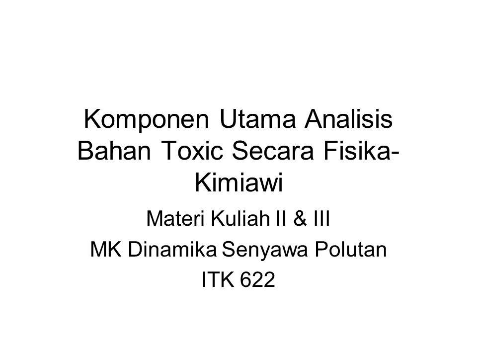 Komponen Utama Analisis Bahan Toxic Secara Fisika- Kimiawi Materi Kuliah II & III MK Dinamika Senyawa Polutan ITK 622