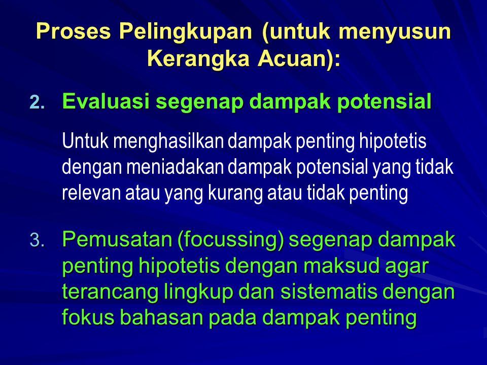 Proses Pelingkupan (untuk menyusun Kerangka Acuan): 2. Evaluasi segenap dampak potensial Untuk menghasilkan dampak penting hipotetis dengan meniadakan