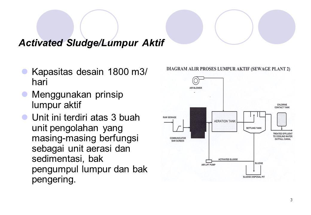 3 Activated Sludge/Lumpur Aktif Kapasitas desain 1800 m3/ hari Menggunakan prinsip lumpur aktif Unit ini terdiri atas 3 buah unit pengolahan yang masi