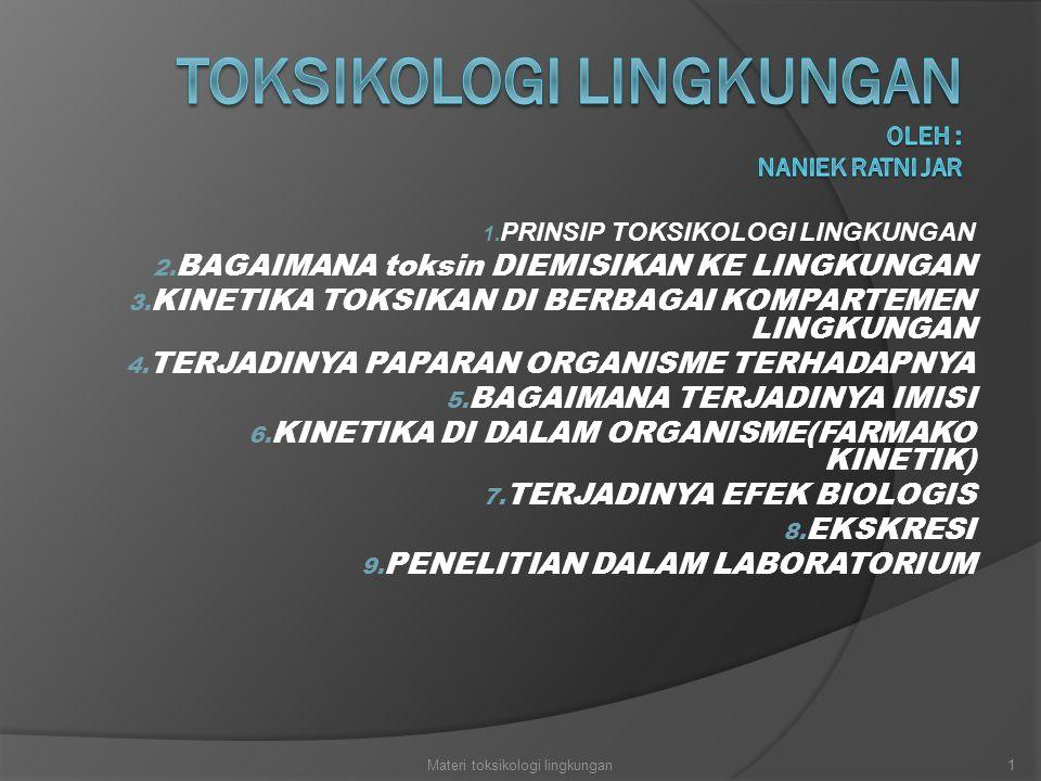 1.PRINSIP TOKSIKOLOGI LINGKUNGAN 2. BAGAIMANA toksin DIEMISIKAN KE LINGKUNGAN 3.