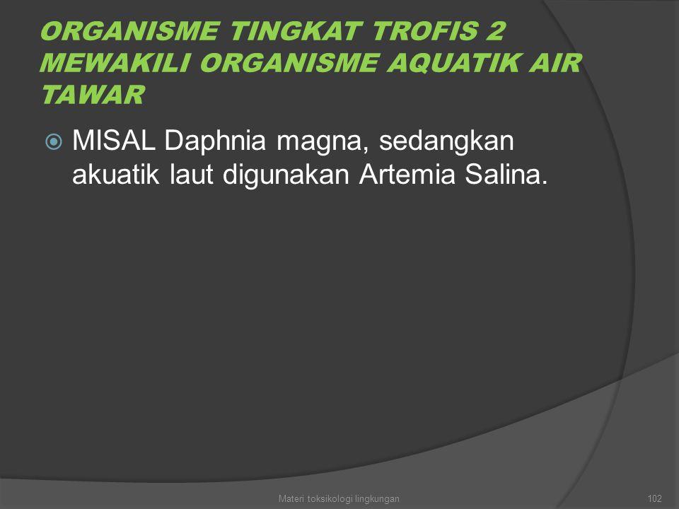 ORGANISME TINGKAT TROFIS 2 MEWAKILI ORGANISME AQUATIK AIR TAWAR  MISAL Daphnia magna, sedangkan akuatik laut digunakan Artemia Salina. 102Materi toks