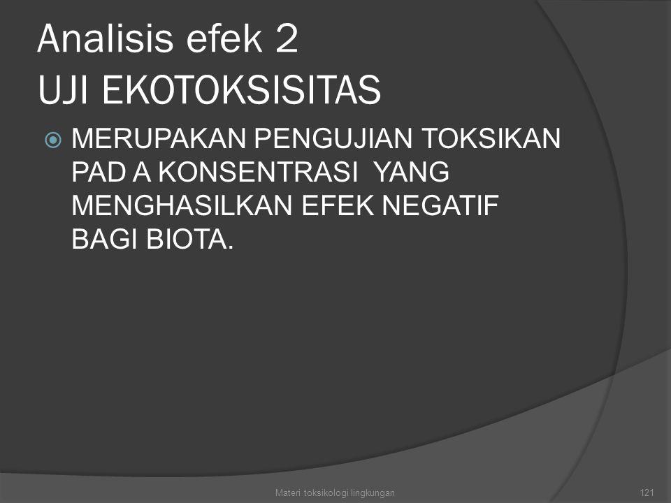 Analisis efek 2 UJI EKOTOKSISITAS  MERUPAKAN PENGUJIAN TOKSIKAN PAD A KONSENTRASI YANG MENGHASILKAN EFEK NEGATIF BAGI BIOTA. Materi toksikologi lingk