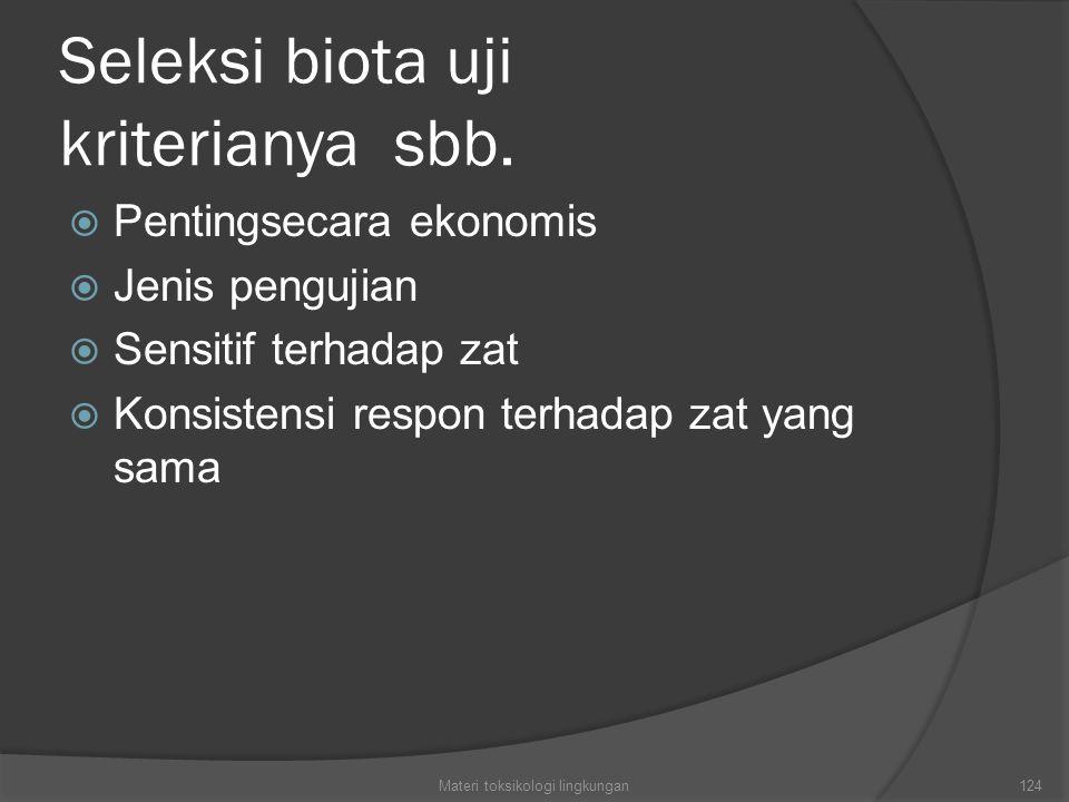 Seleksi biota uji kriterianya sbb.  Pentingsecara ekonomis  Jenis pengujian  Sensitif terhadap zat  Konsistensi respon terhadap zat yang sama Mate
