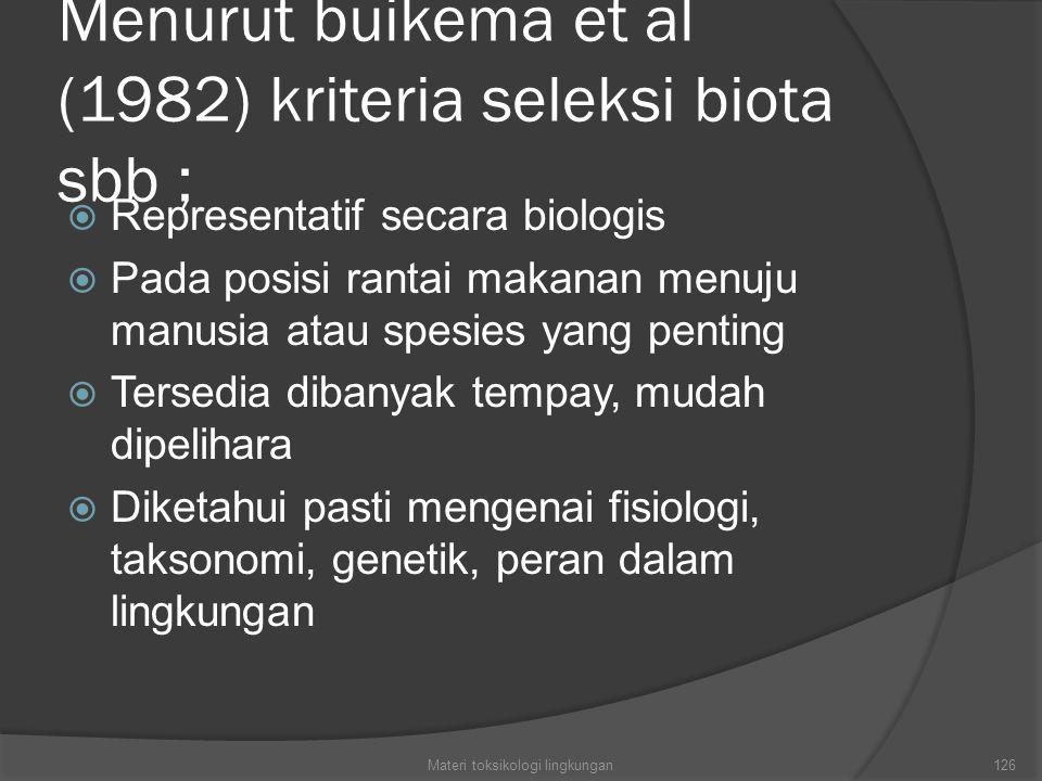 Menurut buikema et al (1982) kriteria seleksi biota sbb ;  Representatif secara biologis  Pada posisi rantai makanan menuju manusia atau spesies yang penting  Tersedia dibanyak tempay, mudah dipelihara  Diketahui pasti mengenai fisiologi, taksonomi, genetik, peran dalam lingkungan Materi toksikologi lingkungan126