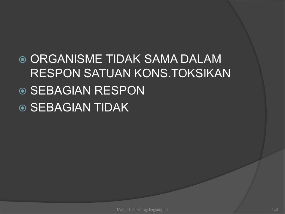  ORGANISME TIDAK SAMA DALAM RESPON SATUAN KONS.TOKSIKAN  SEBAGIAN RESPON  SEBAGIAN TIDAK Materi toksikologi lingkungan148