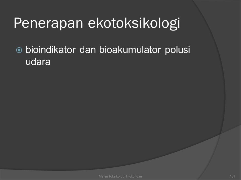 Penerapan ekotoksikologi  bioindikator dan bioakumulator polusi udara Materi toksikologi lingkungan151