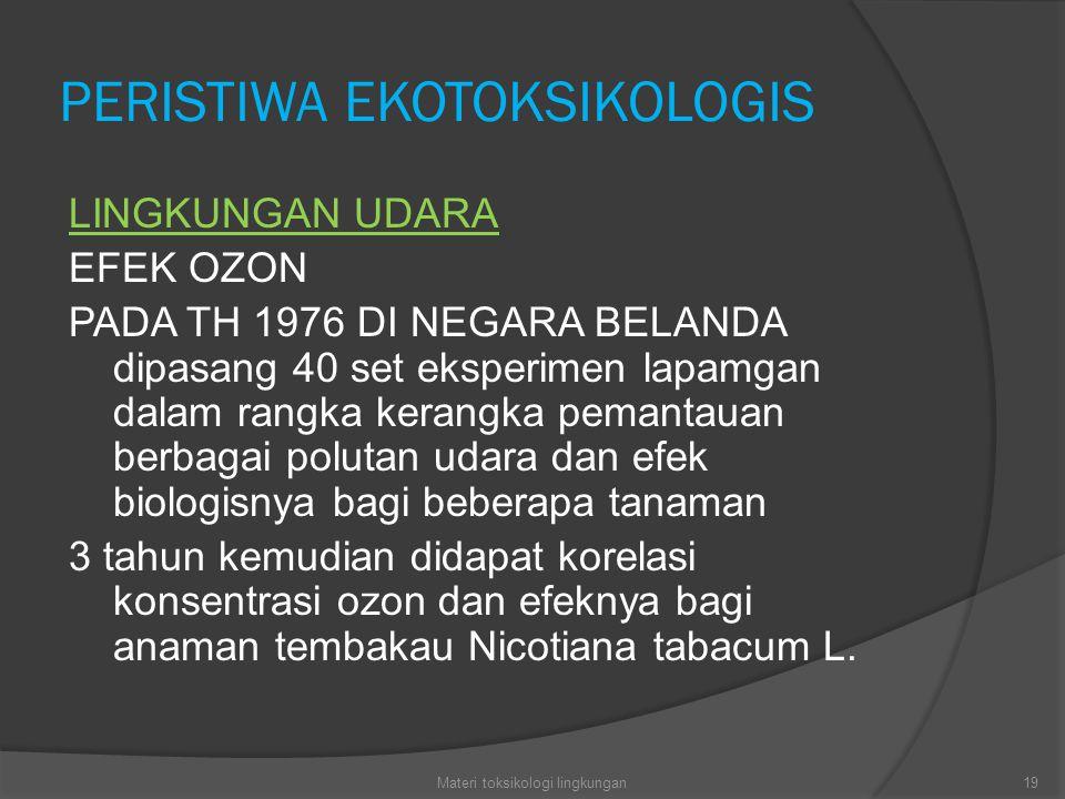 PERISTIWA EKOTOKSIKOLOGIS LINGKUNGAN UDARA EFEK OZON PADA TH 1976 DI NEGARA BELANDA dipasang 40 set eksperimen lapamgan dalam rangka kerangka pemantauan berbagai polutan udara dan efek biologisnya bagi beberapa tanaman 3 tahun kemudian didapat korelasi konsentrasi ozon dan efeknya bagi anaman tembakau Nicotiana tabacum L.