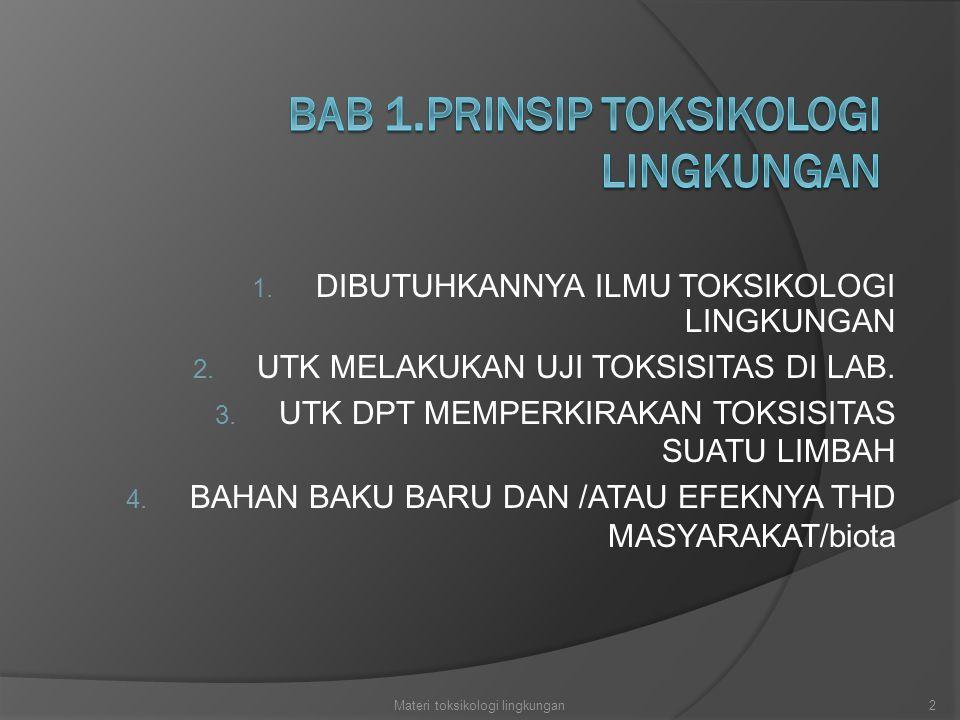 1. DIBUTUHKANNYA ILMU TOKSIKOLOGI LINGKUNGAN 2. UTK MELAKUKAN UJI TOKSISITAS DI LAB. 3. UTK DPT MEMPERKIRAKAN TOKSISITAS SUATU LIMBAH 4. BAHAN BAKU BA