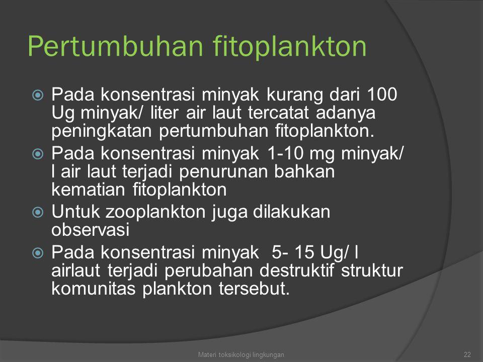 Pertumbuhan fitoplankton  Pada konsentrasi minyak kurang dari 100 Ug minyak/ liter air laut tercatat adanya peningkatan pertumbuhan fitoplankton.  P