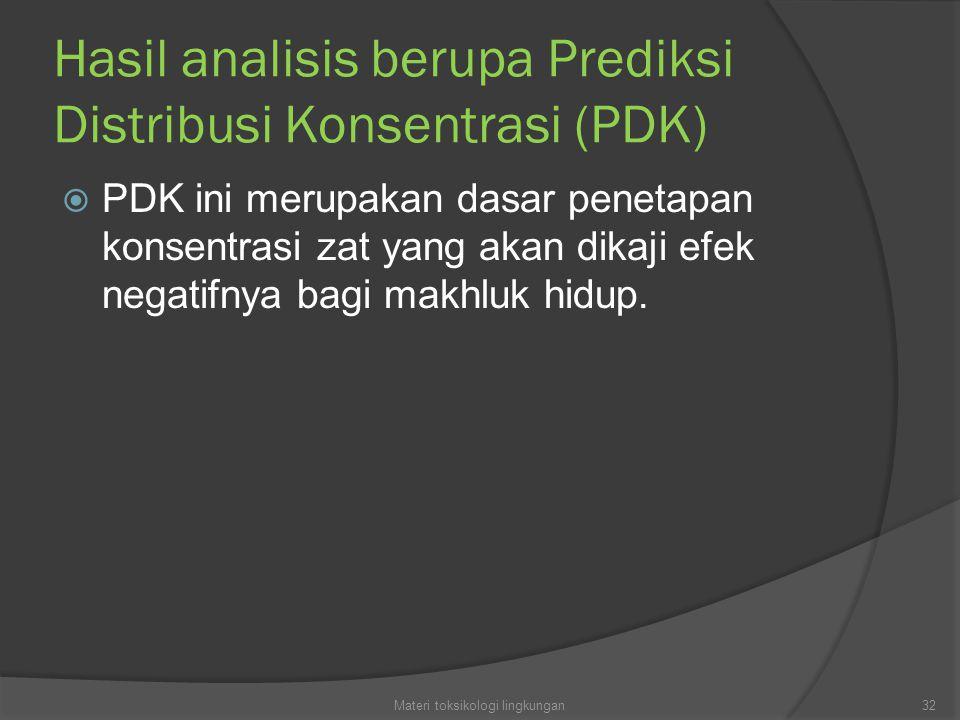 Hasil analisis berupa Prediksi Distribusi Konsentrasi (PDK)  PDK ini merupakan dasar penetapan konsentrasi zat yang akan dikaji efek negatifnya bagi makhluk hidup.