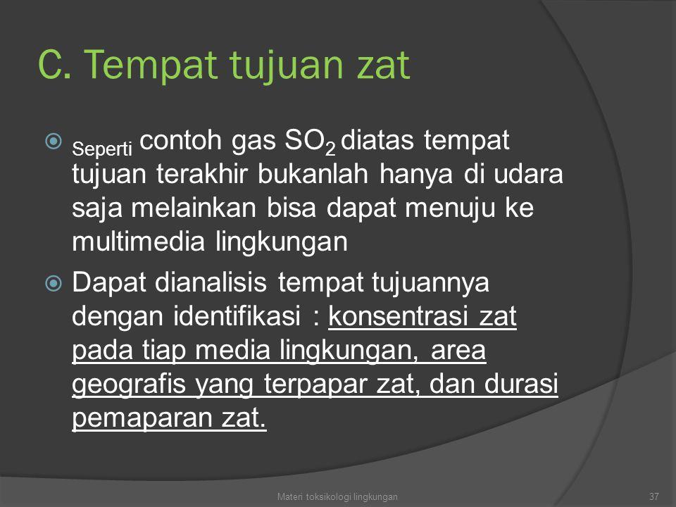 C. Tempat tujuan zat  Seperti contoh gas SO 2 diatas tempat tujuan terakhir bukanlah hanya di udara saja melainkan bisa dapat menuju ke multimedia li