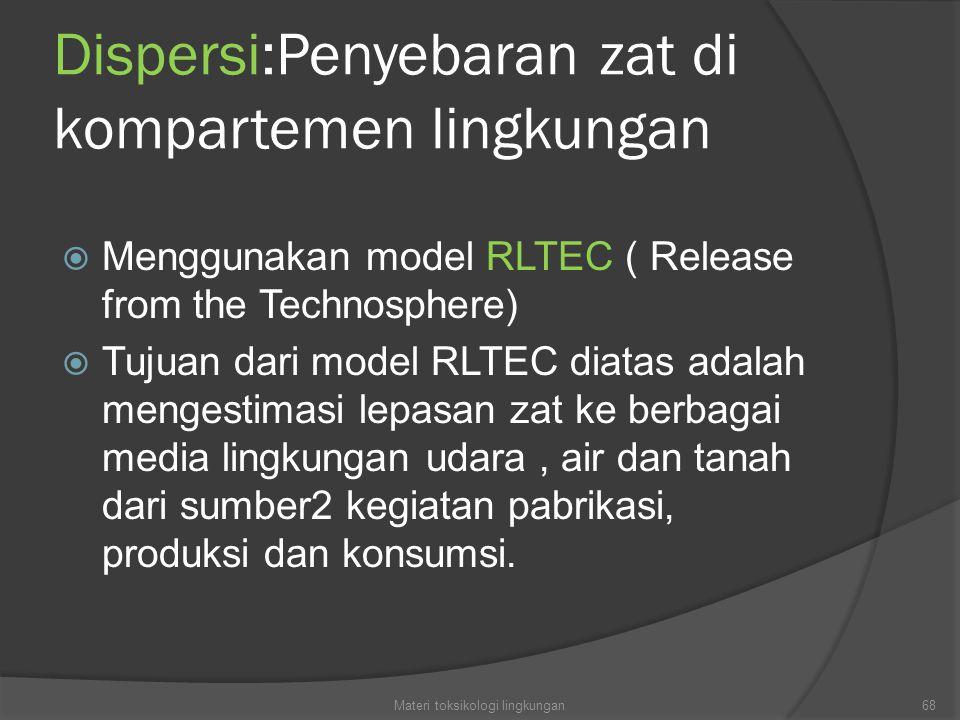 Dispersi:Penyebaran zat di kompartemen lingkungan  Menggunakan model RLTEC ( Release from the Technosphere)  Tujuan dari model RLTEC diatas adalah mengestimasi lepasan zat ke berbagai media lingkungan udara, air dan tanah dari sumber2 kegiatan pabrikasi, produksi dan konsumsi.