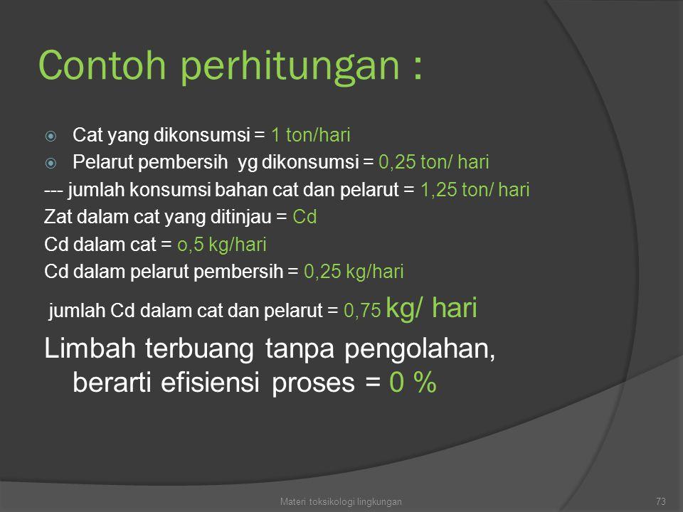 Contoh perhitungan :  Cat yang dikonsumsi = 1 ton/hari  Pelarut pembersih yg dikonsumsi = 0,25 ton/ hari --- jumlah konsumsi bahan cat dan pelarut = 1,25 ton/ hari Zat dalam cat yang ditinjau = Cd Cd dalam cat = o,5 kg/hari Cd dalam pelarut pembersih = 0,25 kg/hari jumlah Cd dalam cat dan pelarut = 0,75 kg/ hari Limbah terbuang tanpa pengolahan, berarti efisiensi proses = 0 % 73Materi toksikologi lingkungan