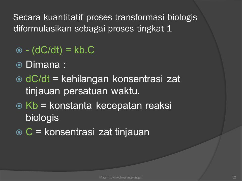 Secara kuantitatif proses transformasi biologis diformulasikan sebagai proses tingkat 1  - (dC/dt) = kb.C  Dimana :  dC/dt = kehilangan konsentrasi zat tinjauan persatuan waktu.