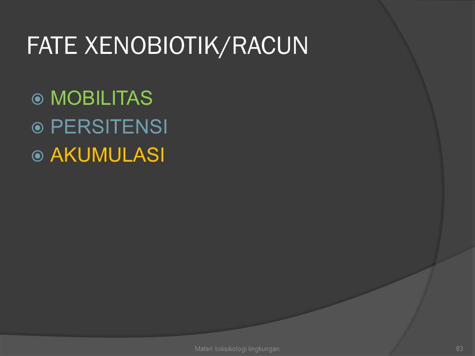 FATE XENOBIOTIK/RACUN  MOBILITAS  PERSITENSI  AKUMULASI 83Materi toksikologi lingkungan