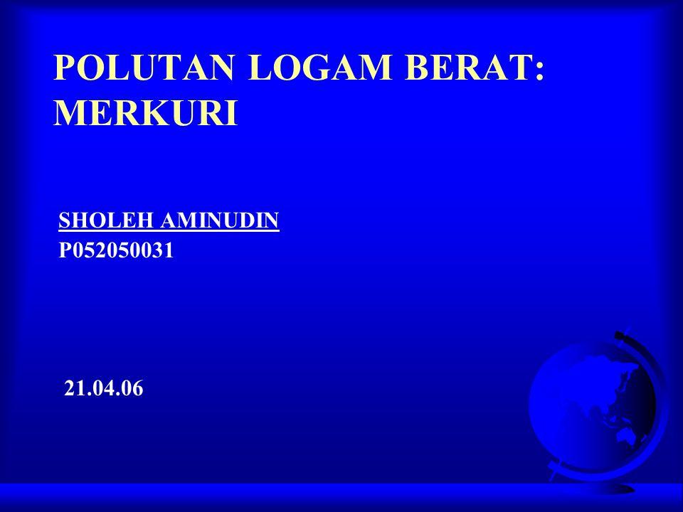 POLUTAN LOGAM BERAT: MERKURI SHOLEH AMINUDIN P052050031 21.04.06