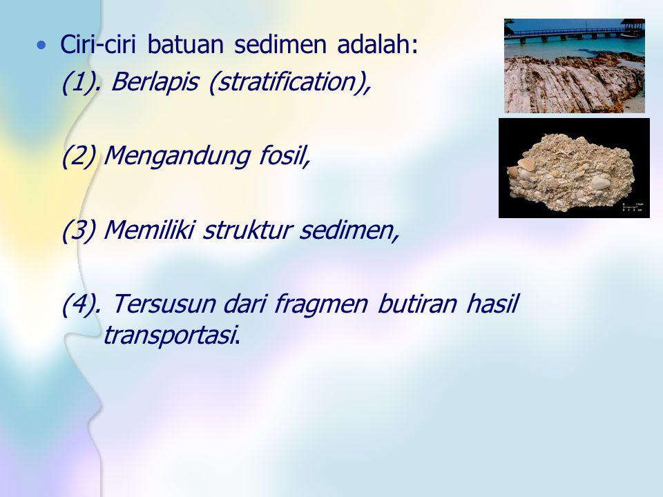 Ciri-ciri batuan sedimen adalah: (1). Berlapis (stratification), (2) Mengandung fosil, (3) Memiliki struktur sedimen, (4). Tersusun dari fragmen butir