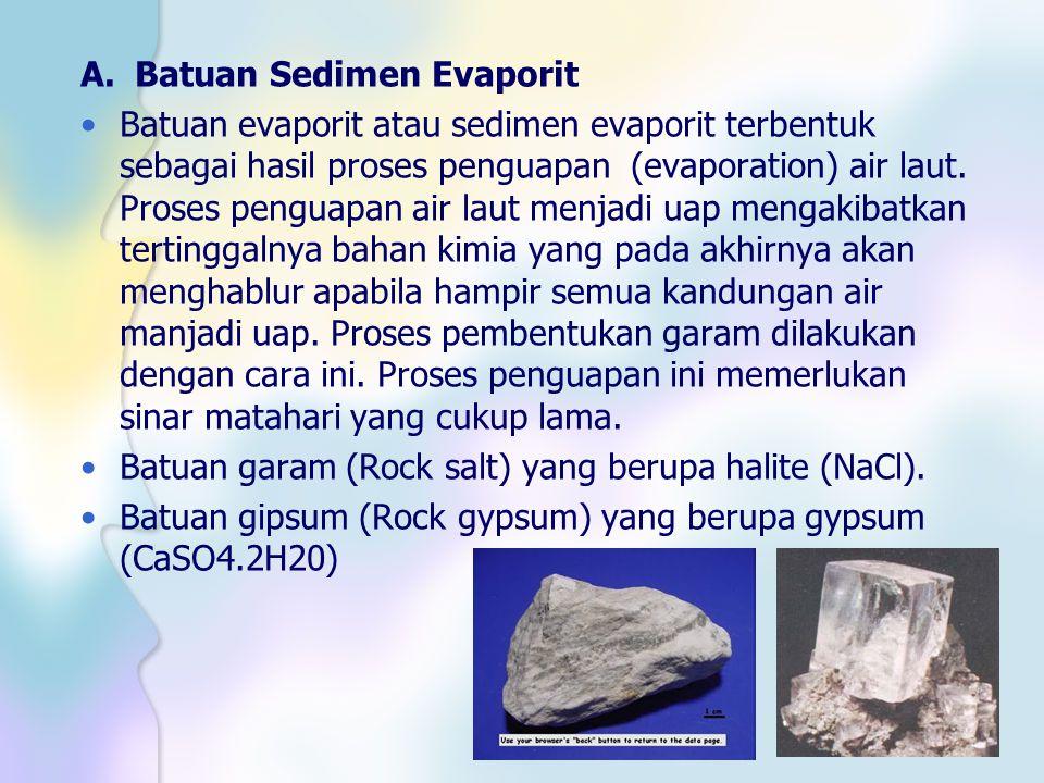 A. Batuan Sedimen Evaporit Batuan evaporit atau sedimen evaporit terbentuk sebagai hasil proses penguapan (evaporation) air laut. Proses penguapan air