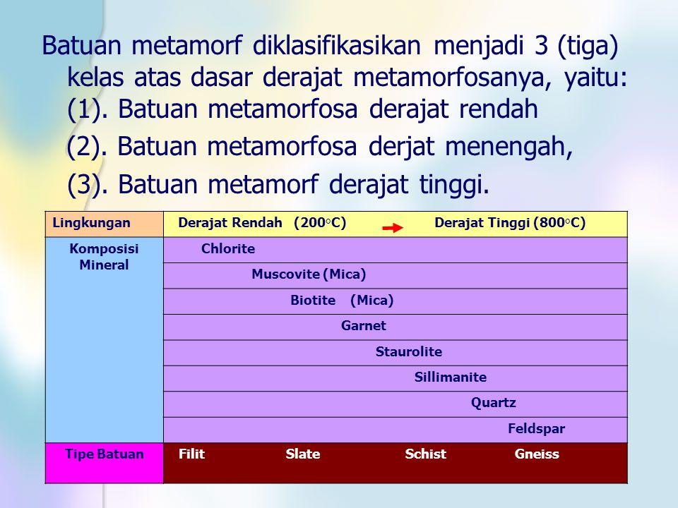 Batuan metamorf diklasifikasikan menjadi 3 (tiga) kelas atas dasar derajat metamorfosanya, yaitu: (1). Batuan metamorfosa derajat rendah (2). Batuan m