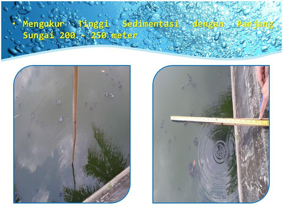 Mengukur Tinggi Sedimentasi dengan Panjang Sungai 200 – 250 meter Mengukur Tinggi Sedimentasi dengan Panjang Sungai 200 – 250 meter