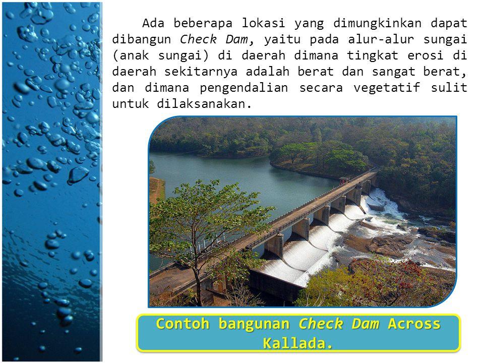 Ada beberapa lokasi yang dimungkinkan dapat dibangun Check Dam, yaitu pada alur-alur sungai (anak sungai) di daerah dimana tingkat erosi di daerah sek