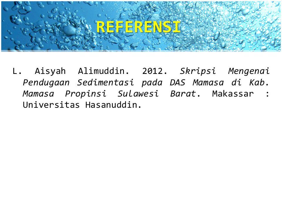 REFERENSI L. Aisyah Alimuddin. 2012. Skripsi Mengenai Pendugaan Sedimentasi pada DAS Mamasa di Kab. Mamasa Propinsi Sulawesi Barat. Makassar : Univers