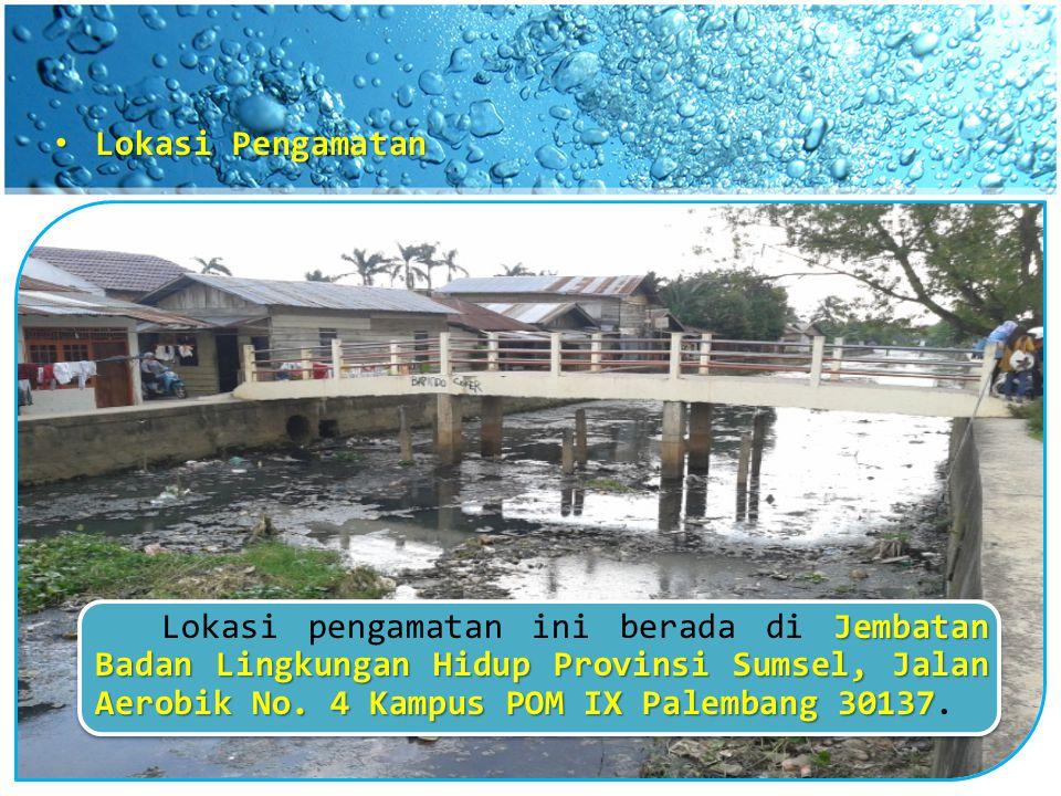 Lokasi Pengamatan Lokasi Pengamatan Jembatan Badan Lingkungan Hidup Provinsi Sumsel, Jalan Aerobik No. 4 Kampus POM IX Palembang 30137 Lokasi pengamat