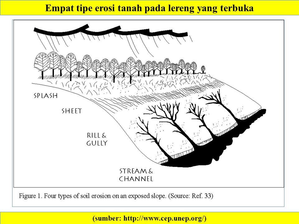 (sumber: http://www.cep.unep.org/) Empat tipe erosi tanah pada lereng yang terbuka
