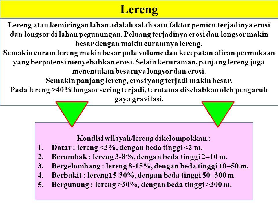 Lereng Kondisi wilayah/lereng dikelompokkan : 1.Datar : lereng <3%, dengan beda tinggi <2 m. 2.Berombak : lereng 3-8%, dengan beda tinggi 2–10 m. 3.Be