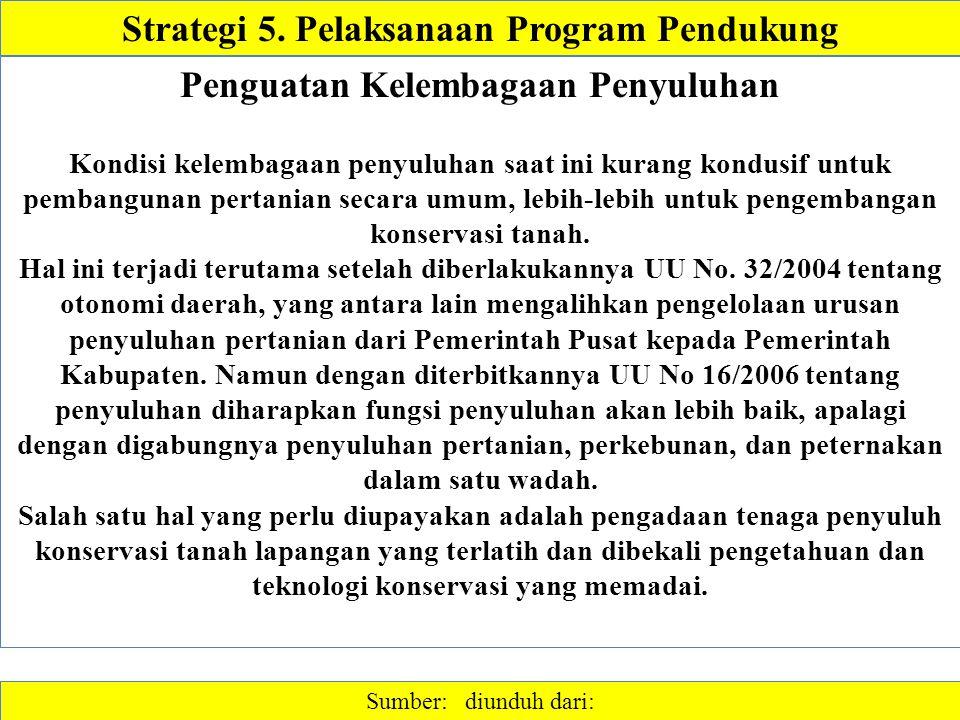Strategi 5. Pelaksanaan Program Pendukung Sumber: diunduh dari: Penguatan Kelembagaan Penyuluhan Kondisi kelembagaan penyuluhan saat ini kurang kondus