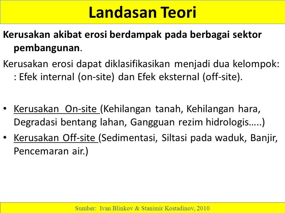Landasan Teori Kerusakan akibat erosi berdampak pada berbagai sektor pembangunan. Kerusakan erosi dapat diklasifikasikan menjadi dua kelompok: : Efek