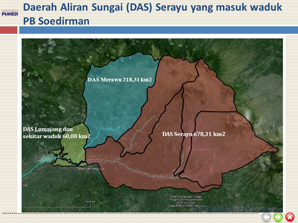 Daerah Aliran Sungai (DAS) Serayu yang masuk waduk PB Soedirman DAS Merawu 218,31 km2 DAS Serayu 678,31 km2 DAS Lumajang dan sekitar waduk 60,00 km2