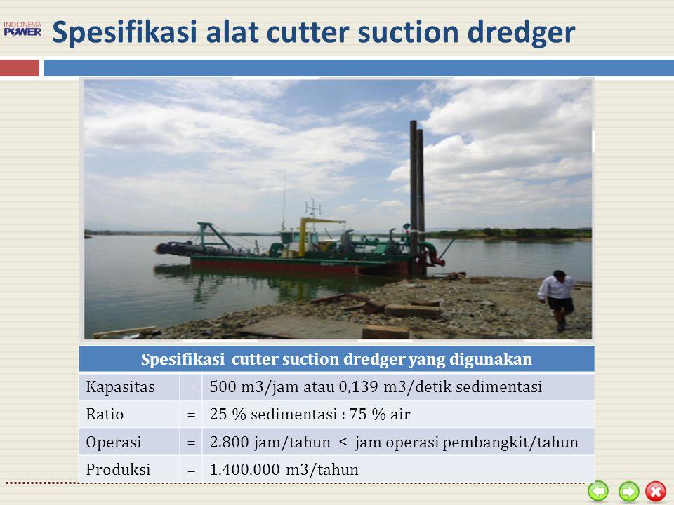 Spesifikasi alat cutter suction dredger Spesifikasi cutter suction dredger yang digunakan Kapasitas=500 m3/jam atau 0,139 m3/detik sedimentasi Ratio=2